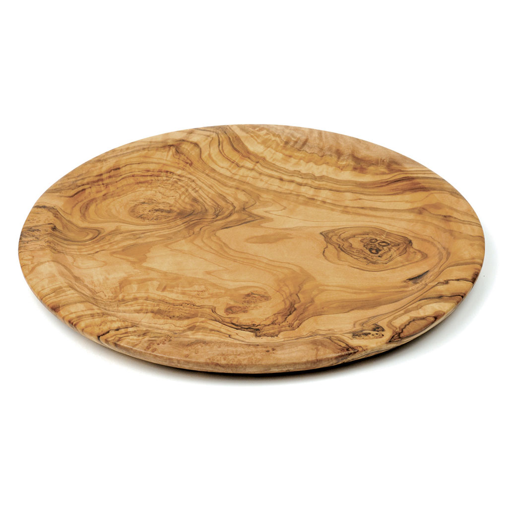 Cucina 4 X 4 olive wood classic round serving tray - martelli foods inc.